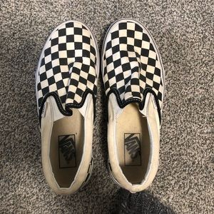 Women's black and white checkerboard vans